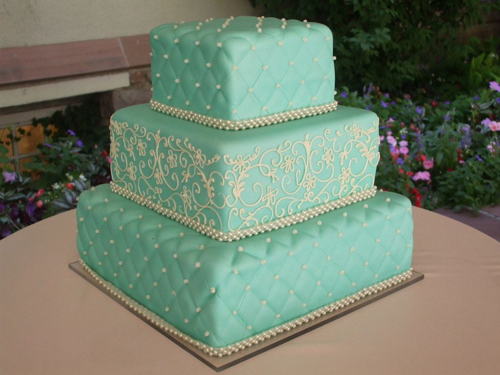 Tiffany Blue Quilted Wedding Cake Cakecentral