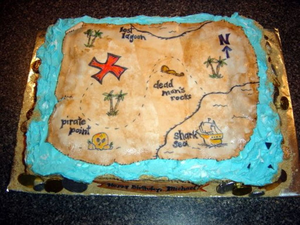 Pirate Treasure Map Cake Cakecentral
