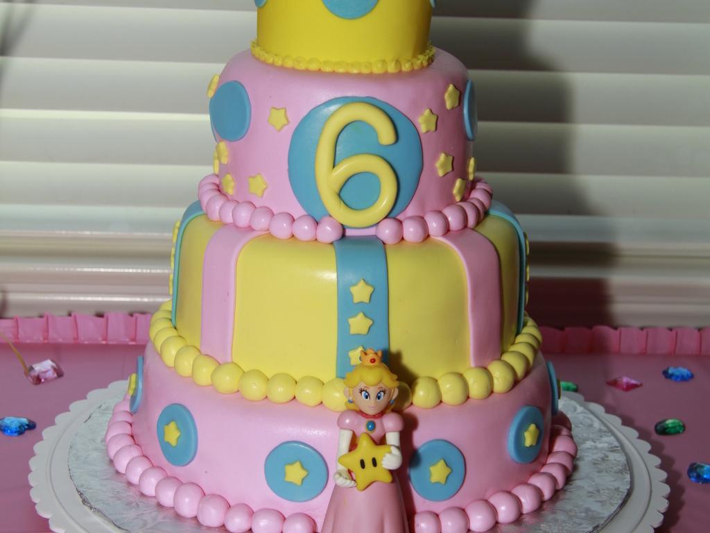 Super Mario Bros Princess Peach Crown Birthday Cake - CakeCentral.com