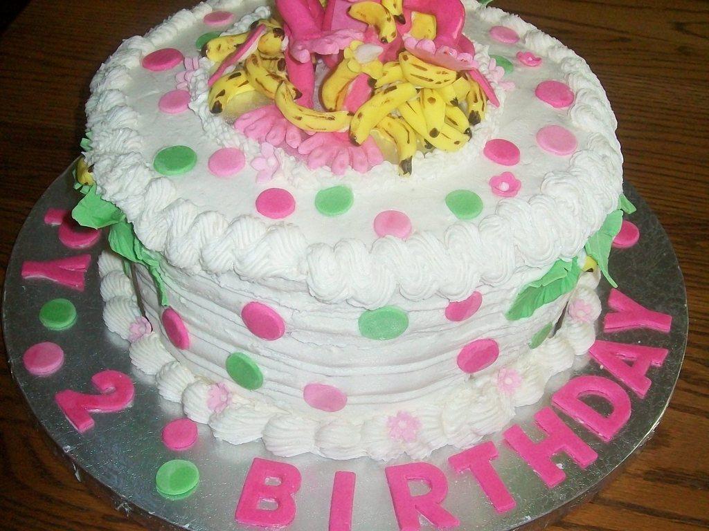 Pink Monkey 3 Yr Girls Birthday Cake