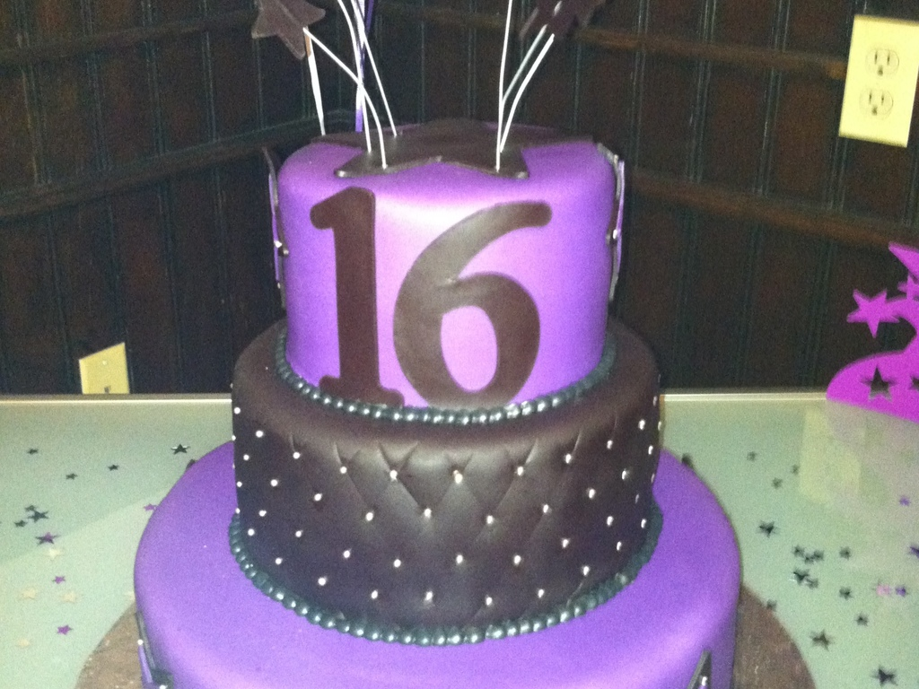 3 Tier Purple Black And Silver Sweet 16 Cake CakeCentralcom