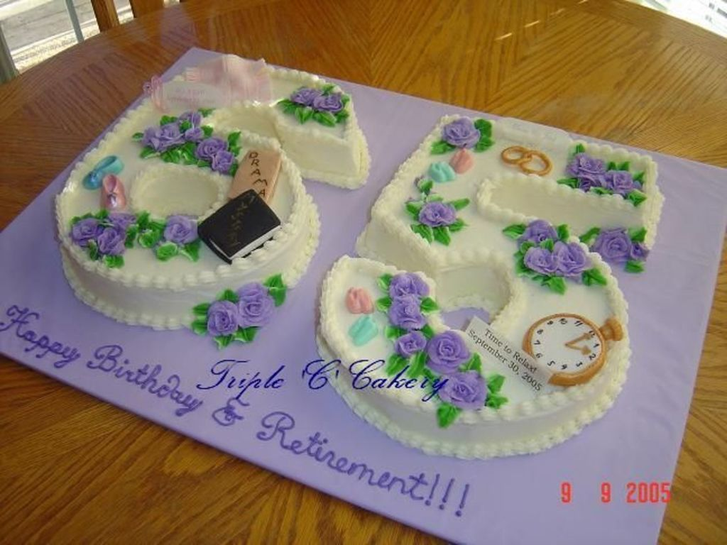 Combo 65Th Birthday And Retirement Cake CakeCentralcom