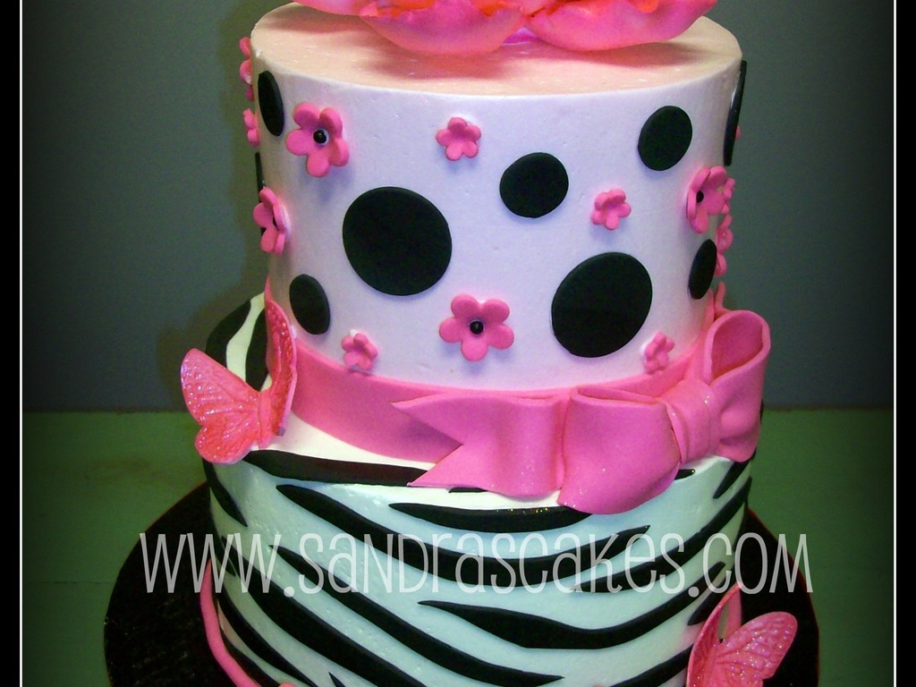 Pink And Black Baby Shower Cake Cakecentral