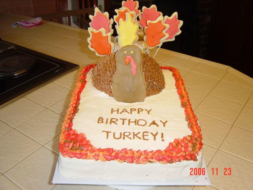 Enjoyable Thanksgiving Turkey Birthday Cake Cakecentral Com Personalised Birthday Cards Veneteletsinfo