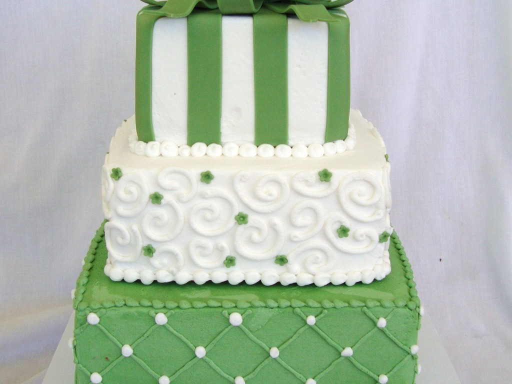 Fern Green & White Square Wedding Cake - CakeCentral.com