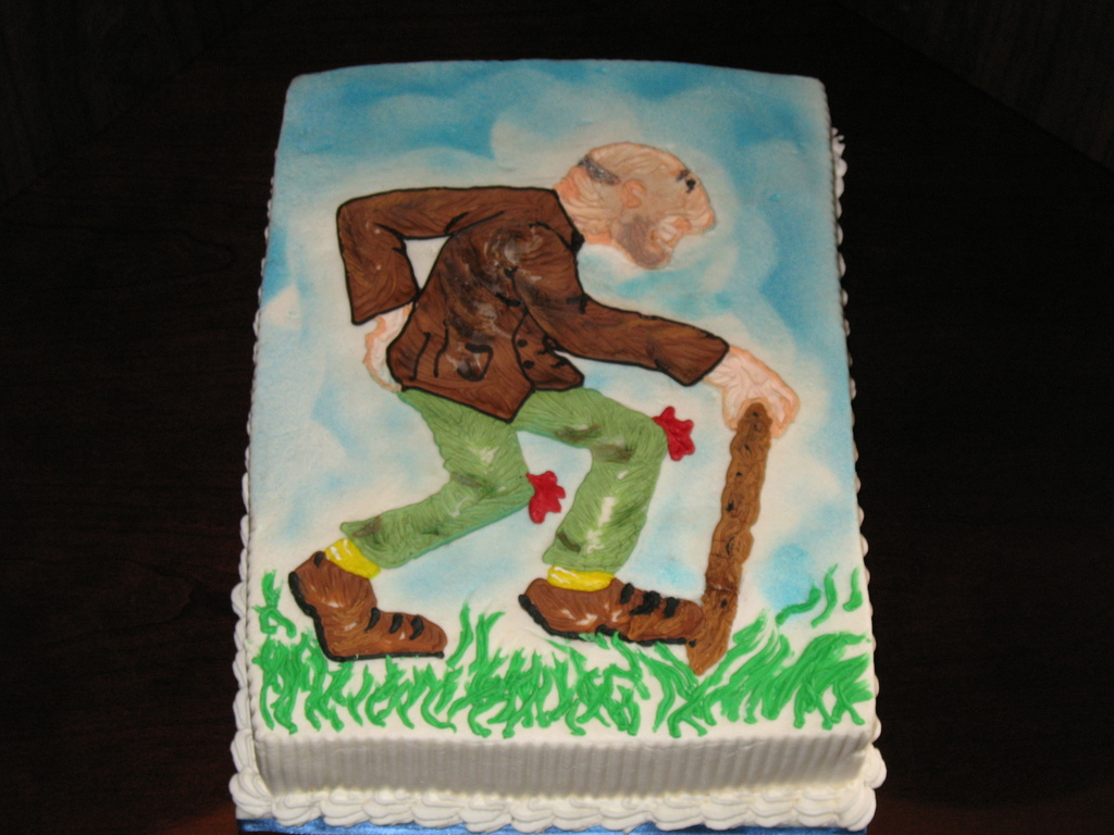 Old Man With Cane Sheet Cake Cakecentral