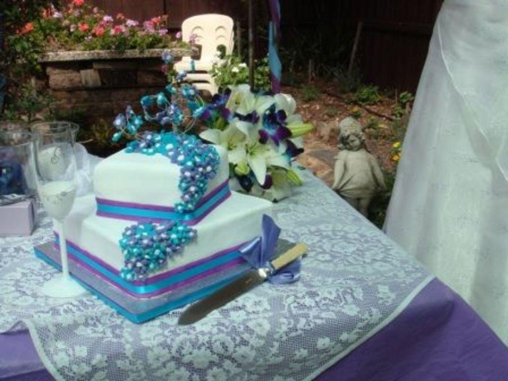 Aqua And Purple Theme Square Wedding Cake - CakeCentral.com