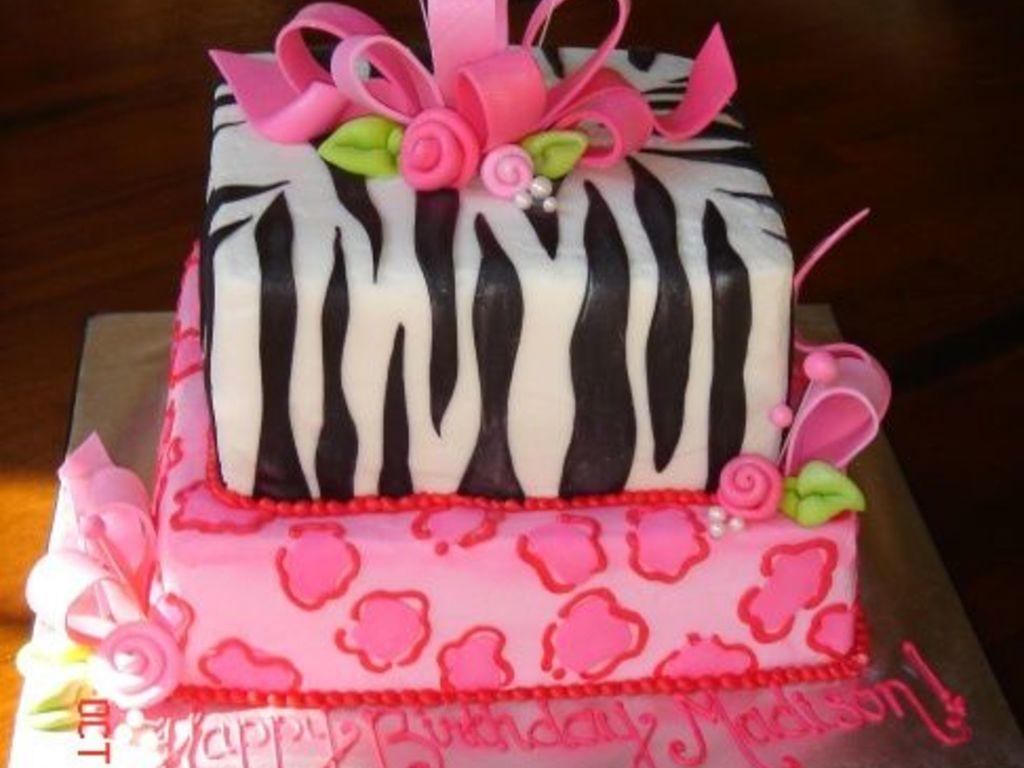 Girly Animal Print Birthday Cake