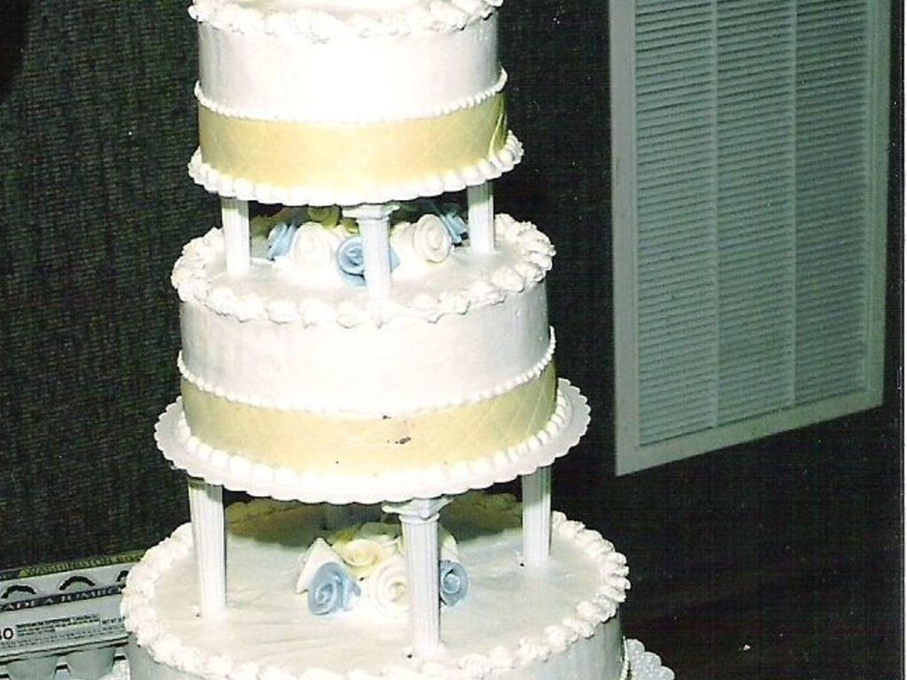 Buttercup Yellow And Periwinkle Wedding Cake - CakeCentral.com