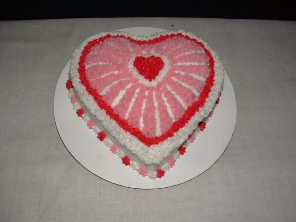 White,pink And Red Heart Shaped Cake - CakeCentral.com
