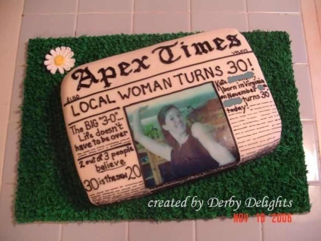Newspaper 30Th Birthday Cake