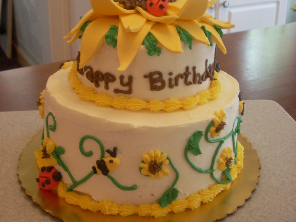 Sunflower Birthday Cake CakeCentralcom