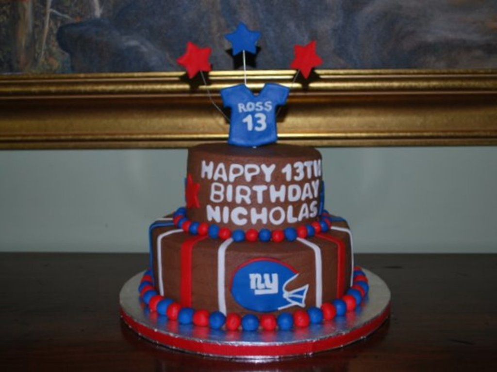 Incredible Ny Giants Birthday Cake Cakecentral Com Funny Birthday Cards Online Fluifree Goldxyz