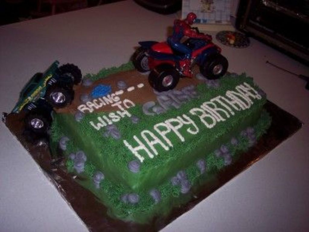 Side View Of Spiderman And Monster Truck Off Road Cake CakeCentralcom