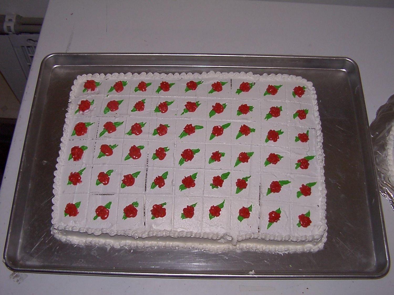 Sheet Cake To Go With Roses Wedding Cake CakeCentralcom