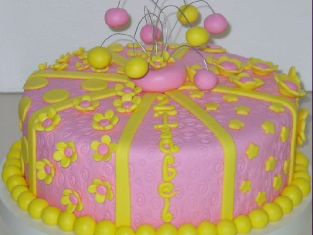 Excellent Pink And Yellow Birthday Cake Cakecentral Com Funny Birthday Cards Online Ioscodamsfinfo