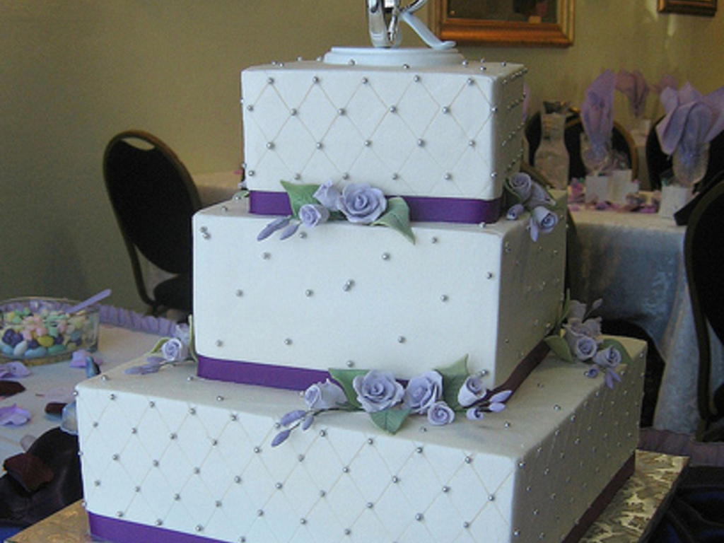Ivory And Lavender Wedding Cake - CakeCentral.com