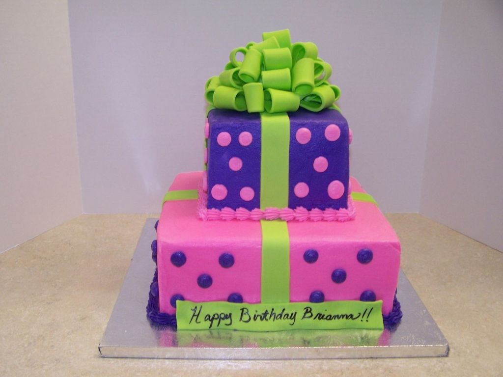 Astounding Lime Green Hot Pink Purple Present Cake Cakecentral Com Funny Birthday Cards Online Alyptdamsfinfo