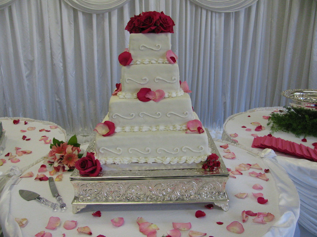 White With Pink Flowers Wedding Cake Cakecentral