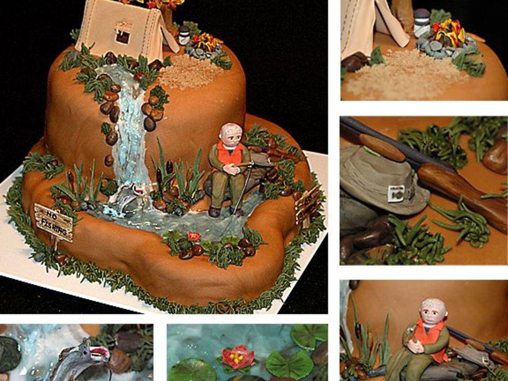 C&ing Hunting Fishing Birthday Cake & Camping tent Cake Decorating Photos