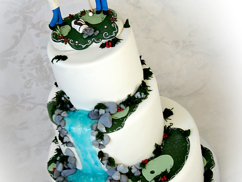 Golf Themed Wedding Cake With Waterfall - CakeCentral.com