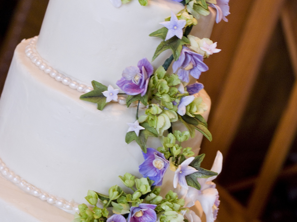 Purple Orchid Sugar Flower Wedding Cake CakeCentralcom