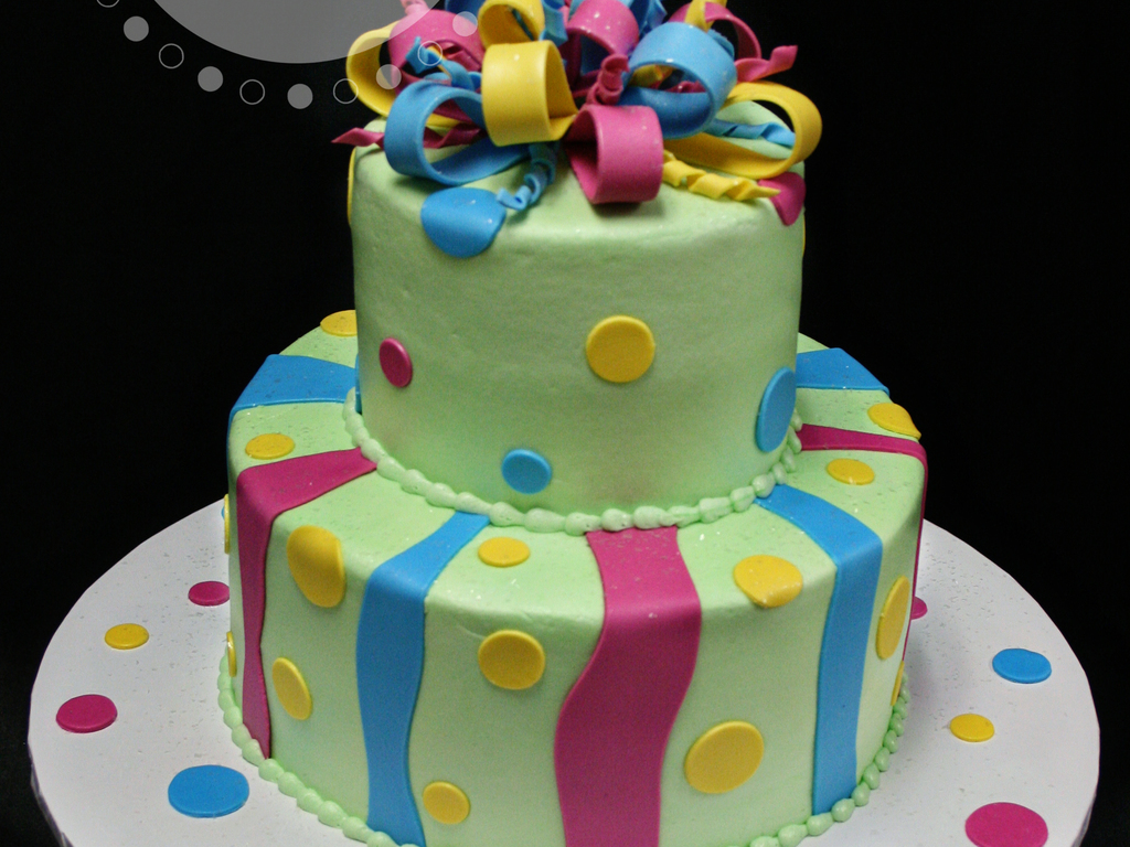 Green Pink Yellow Blue Birthday Cake With Bow Cakecentral