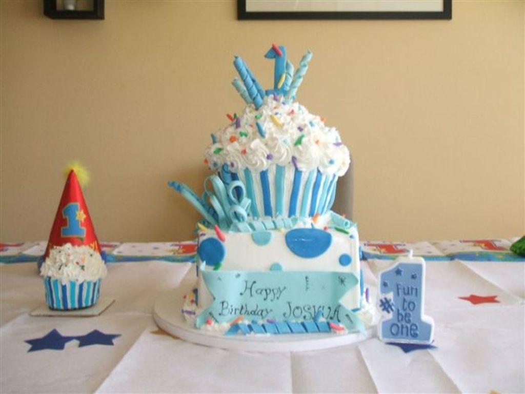 Giant Cupcake For A Boy Cakecentral Com
