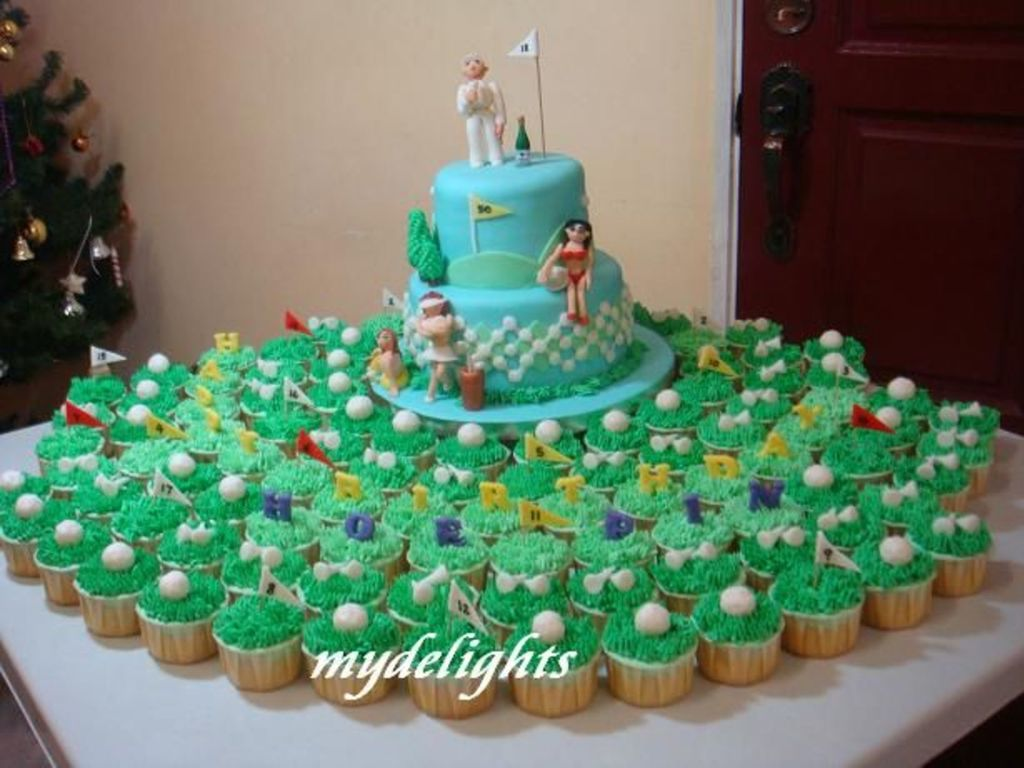 Golf Theme 50Th Birthday Cake Cupcakes CakeCentralcom