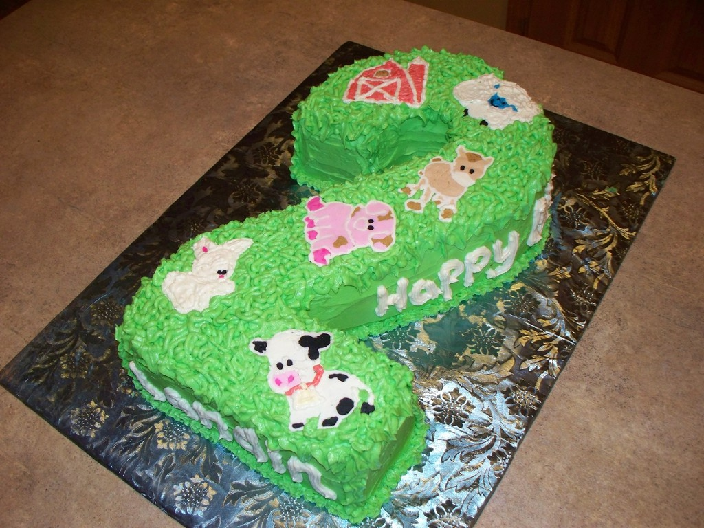 Carved 2 Farm Animals Birthday Cake CakeCentralcom