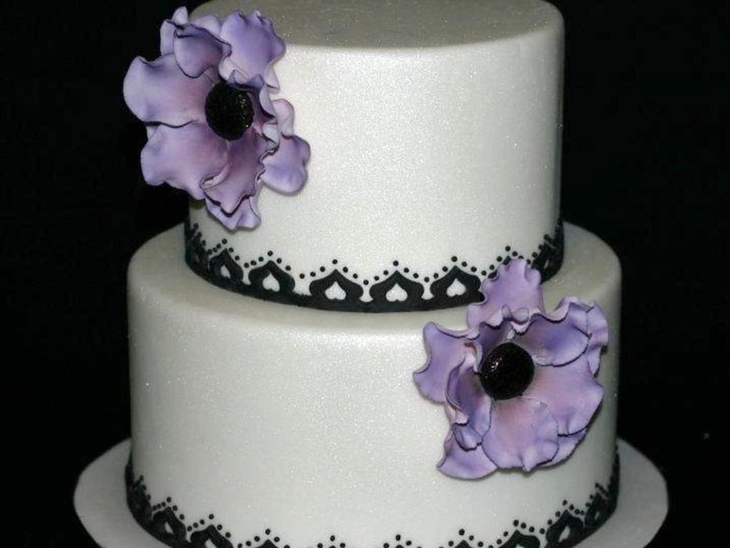 Purple And Black Wedding Cake - CakeCentral.com