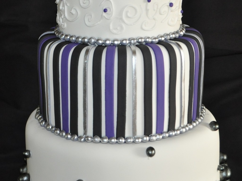 Purple, Black And Silver Wedding Cake - CakeCentral.com