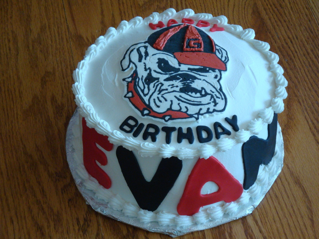Groovy Georgia Bulldogs Birthday Cake Cakecentral Com Personalised Birthday Cards Veneteletsinfo