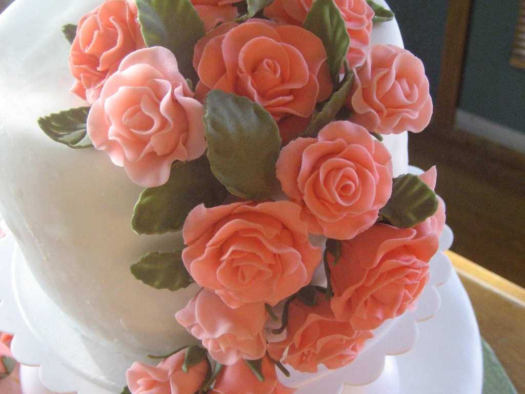 Fondant Roses In Coral Color - CakeCentral.com