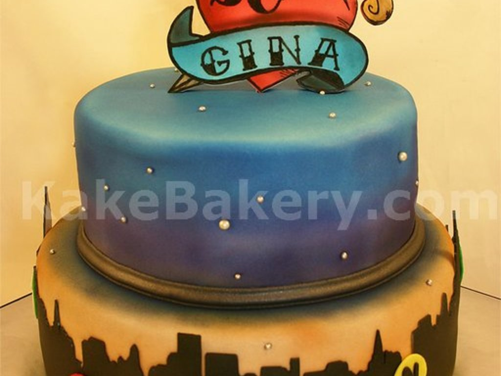 Outstanding New York City Tattoo Birthday Cake Cakecentral Com Birthday Cards Printable Riciscafe Filternl