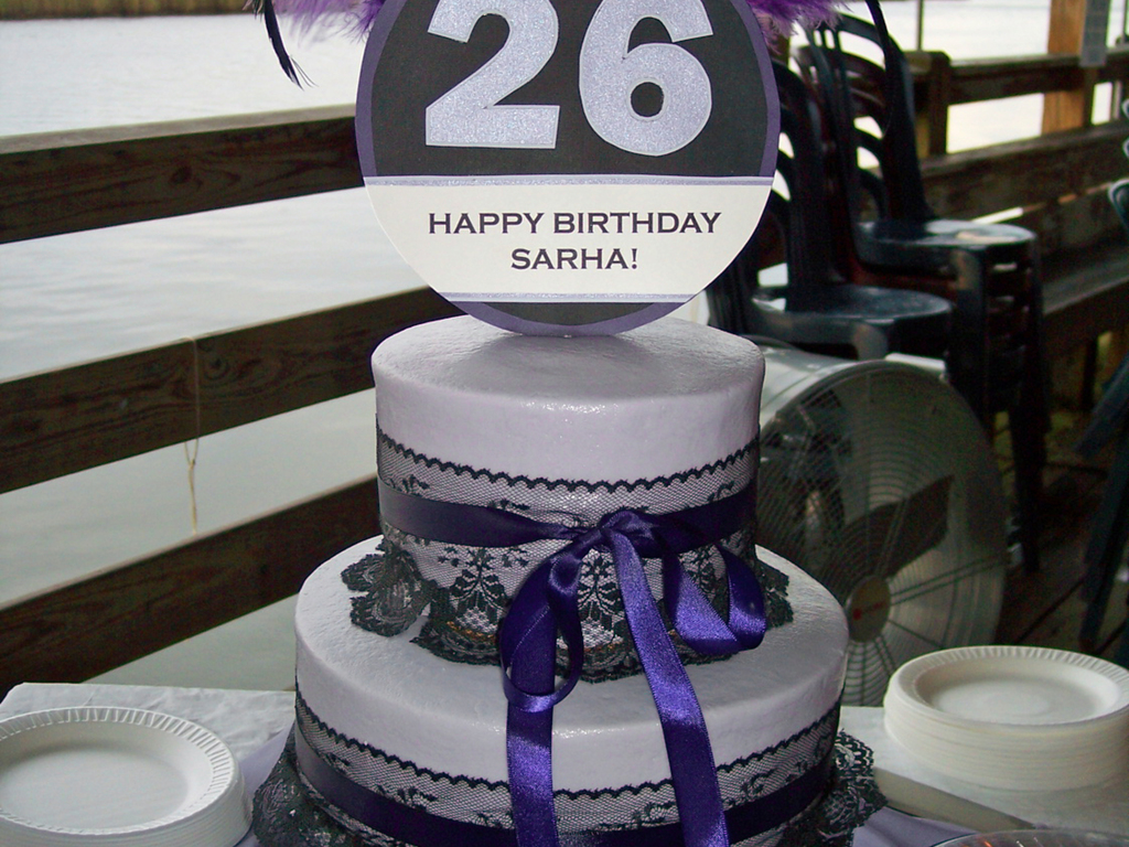 Purple Feathers With Black Lace 26Th Birthday Cake