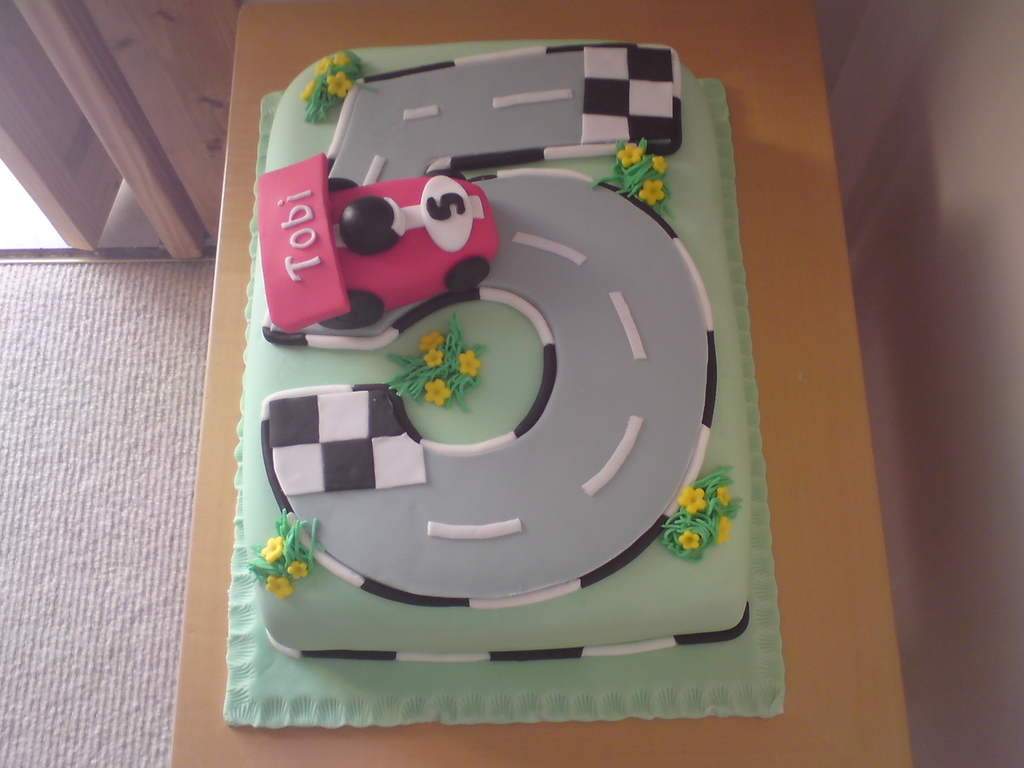 Race Car Birthday Cake For A 5 Year Old Cakecentral