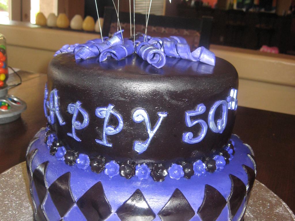 Purple And Black 50Th Birthday Cake