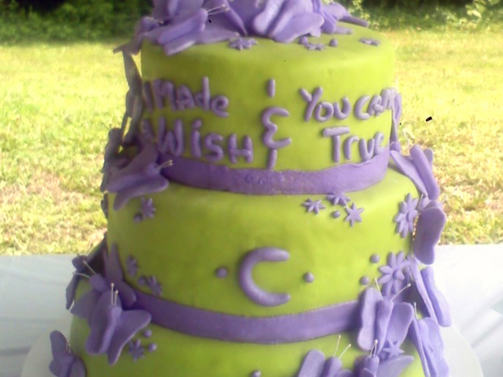 Lime Green & Purple Butterfly Wedding Cake - CakeCentral.com