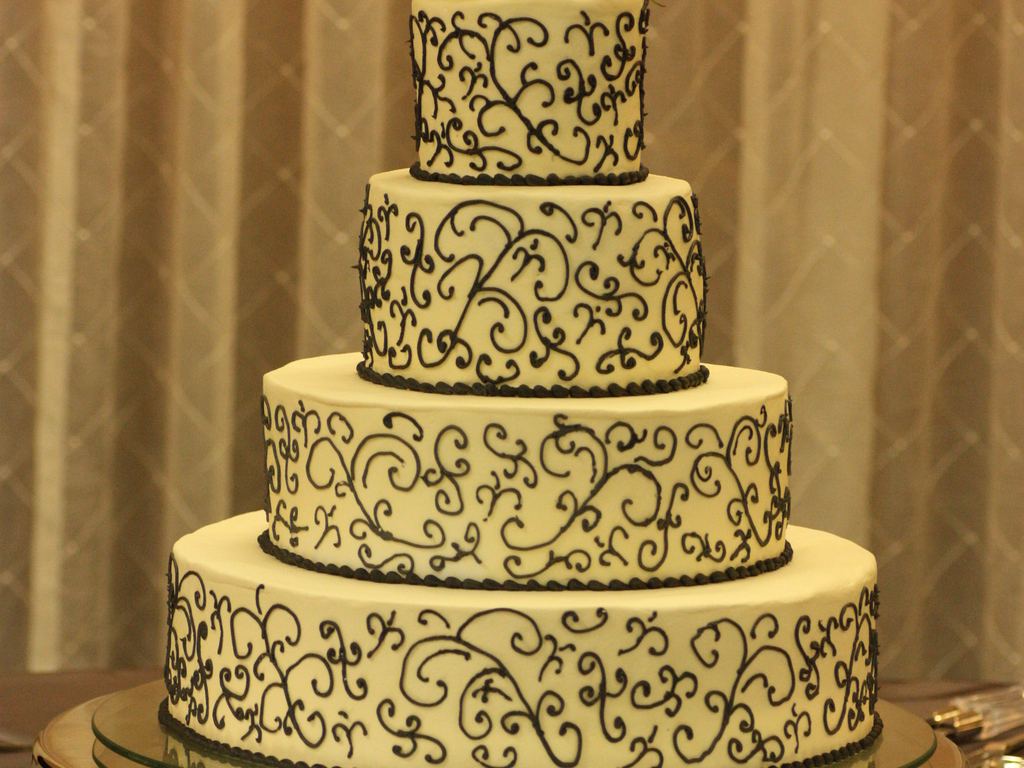 Ivory And Pewter Gray Wedding Cake - CakeCentral.com