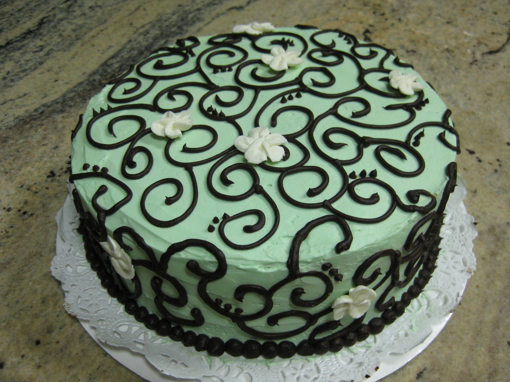 Wondrous Mint Green Chocolate Scroll Birthday Cake Cakecentral Com Birthday Cards Printable Opercafe Filternl
