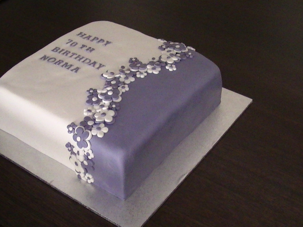 70th Birthday Cake Purple Flowers Cakecentral