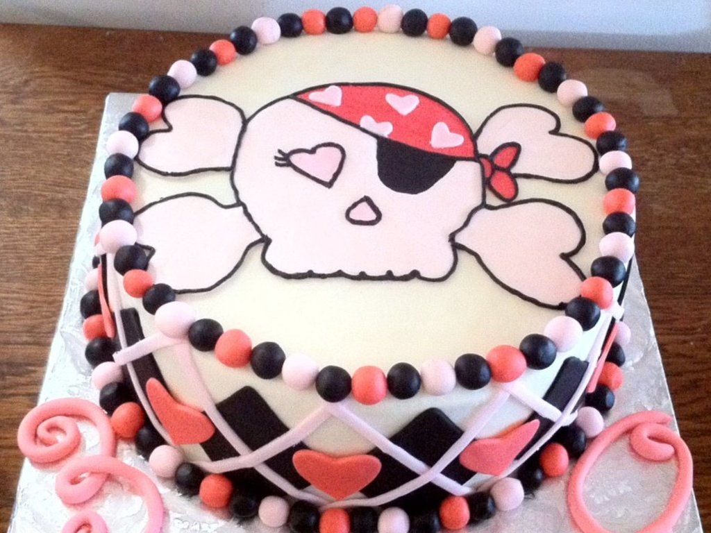 Fashion week Skull Girl and crossbones cake for woman
