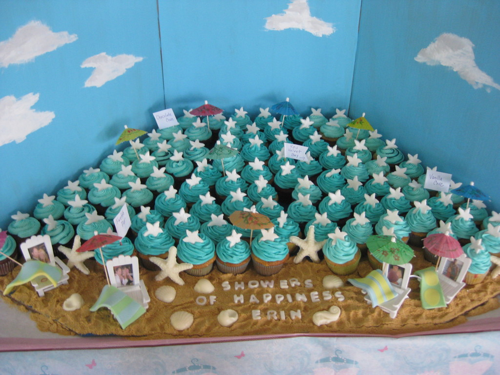 Beach Themed Bridal Shower Cupcakes