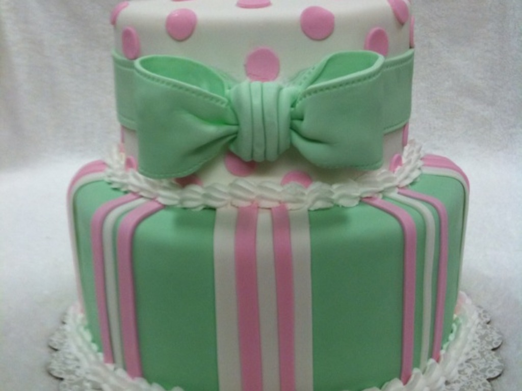 Pink Green And White Baby Shower Cake Cakecentral