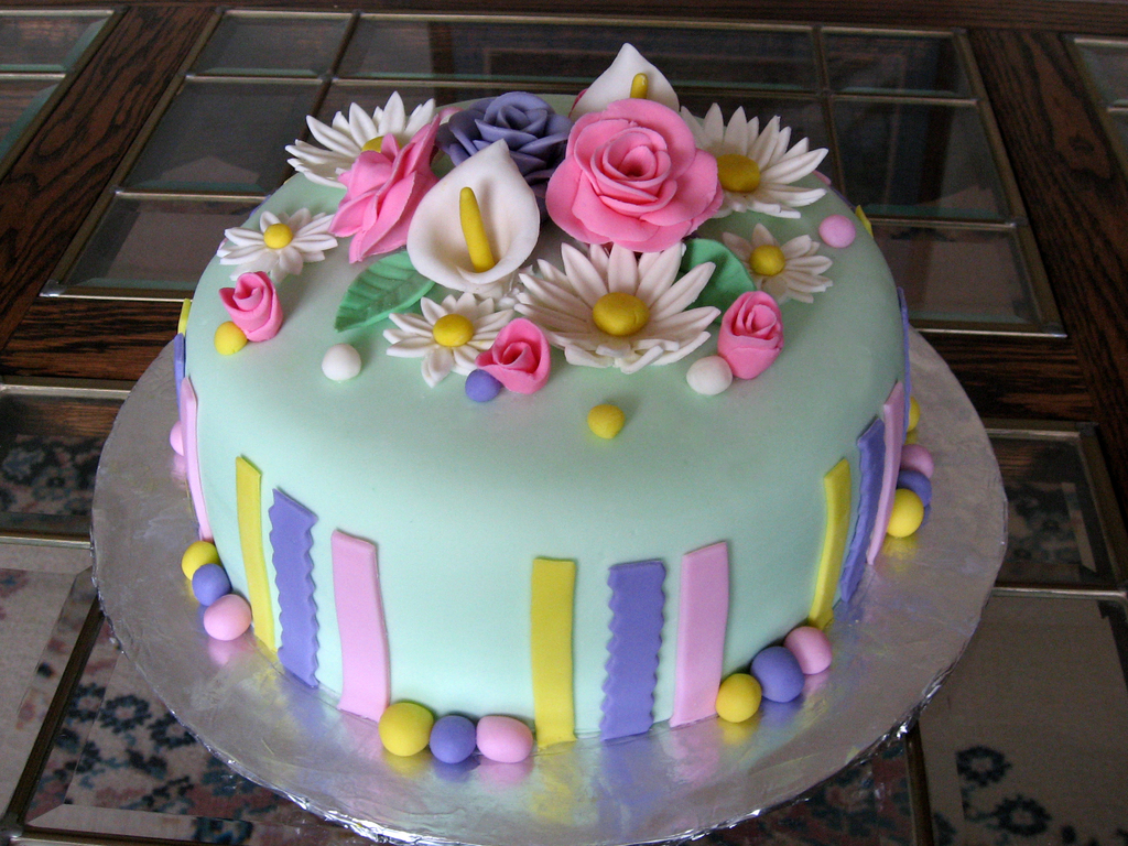 Flower birthday cake easter theme cakecentral izmirmasajfo