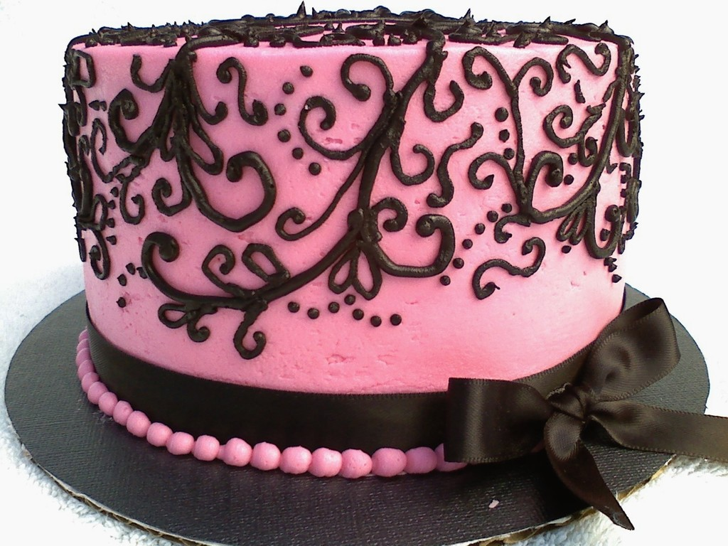 Pink Black Scroll Birthday Cake Cakecentral