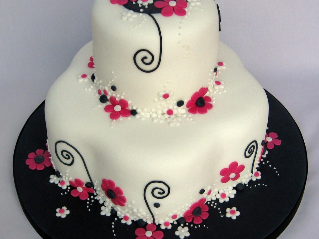 Pink Black White Flowery Birthday Cake Cakecentral