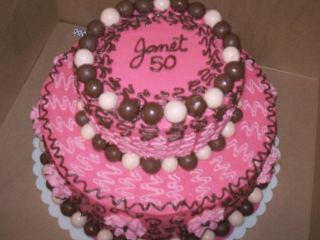 Whoppers Pink 50th Birthday Cake Cakecentral