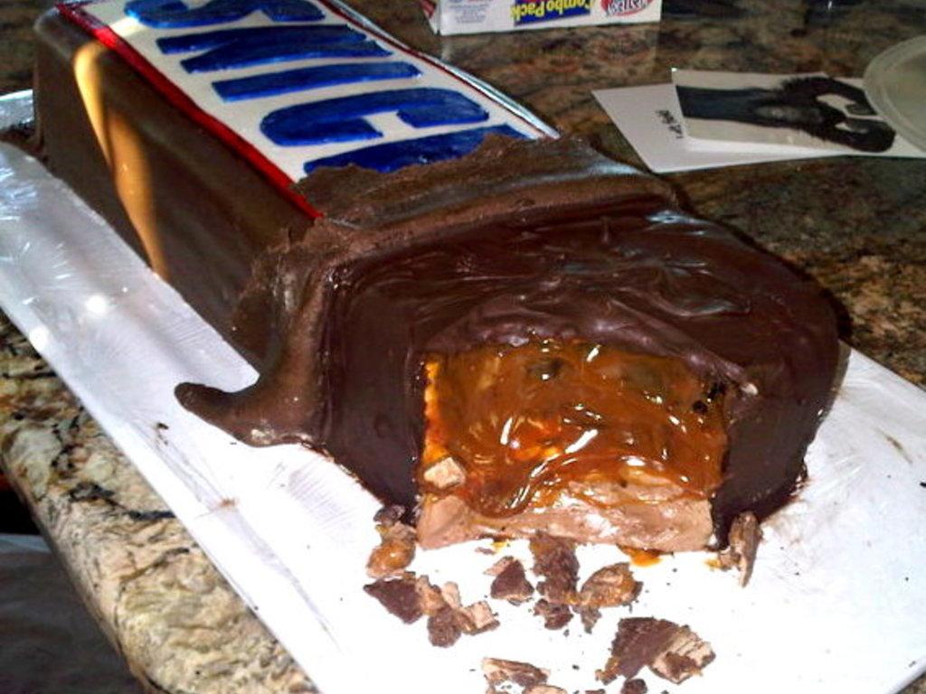 Strange Snickers Birthday Cake Cakecentral Com Funny Birthday Cards Online Hetedamsfinfo